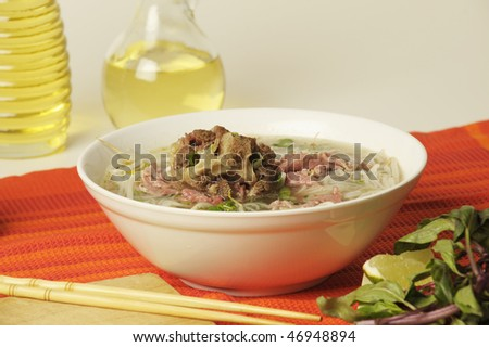 Vietnamese food pho oxtail - stock photo
