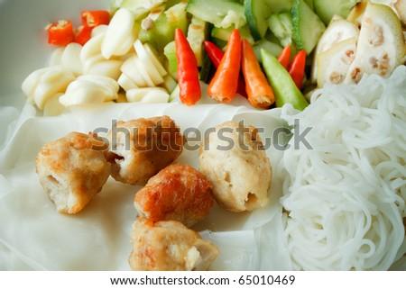 Vietnamese food - Pork Noodle Rice Paper Parcels - stock photo