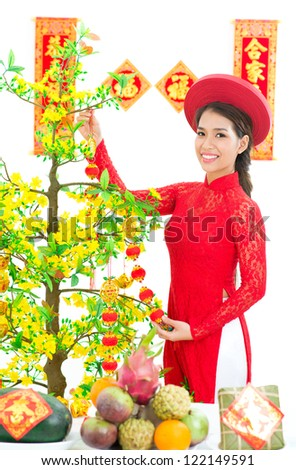 Vietnamese girl decorating Vietnamese New Year Tree �¢?? Hoa Mai - stock photo
