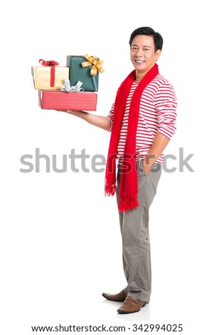 Vietnamese man with a stack of gift boxes