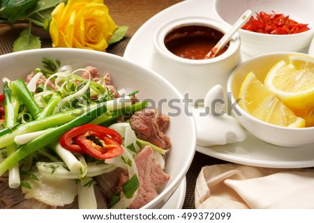 Vietnamese noodle, pho beef soup