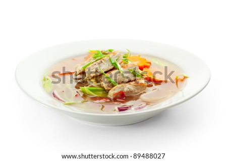 Vietnamese Noodle Soup with Chicken and Vegetables - stock photo