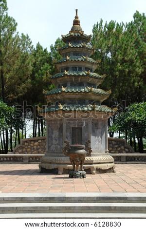 Vietnamese pagoda at a temple just outside Hanoi - stock photo