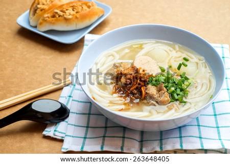 Vietnamese rice Jub ,Vietnamese Noodle Soup , Pork Spare Ribs Rice Noodles Soup - stock photo