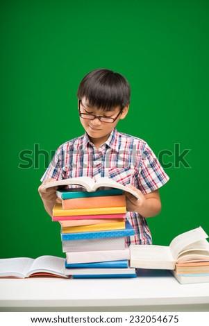 Vietnamese schoolboy reading a book - stock photo