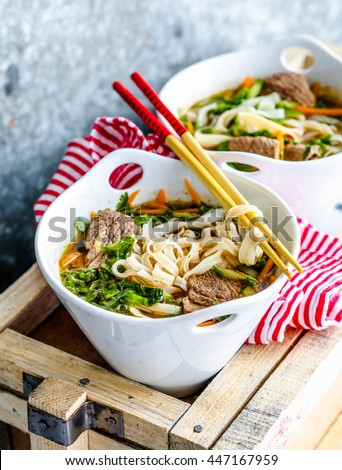 Vietnamese soup with beef and noodles
