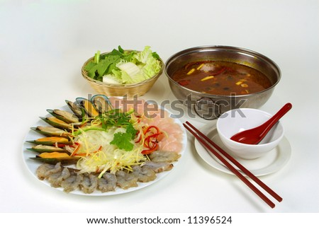 Vietnamese-Thailand Seafood soup - stock photo
