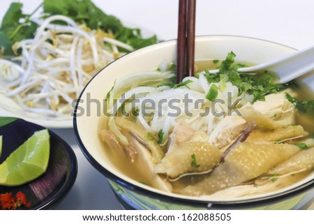 Vietnamese  Traditional Food - Chicken rice noodle soup - stock photo