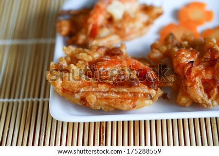 Vietnamese traditional food: fried shrimp and sweet potato fritters ...