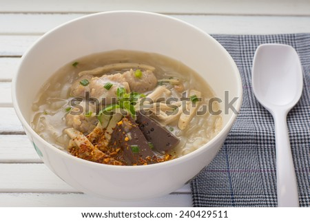 Vietnamese Traditional Food- soup containing rice vermicelli and chicken. - stock photo