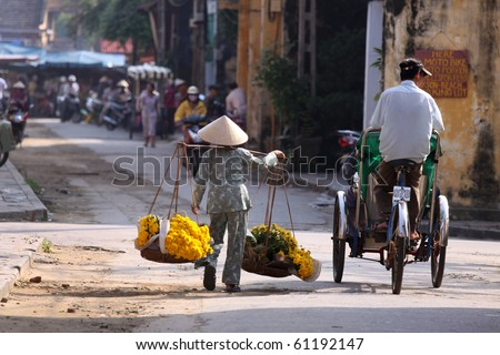Vietnamese vendor, Vietnam - stock photo