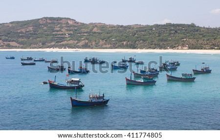 Vietnamese wooden fishing boat in Phu Yen, central Vietnam.