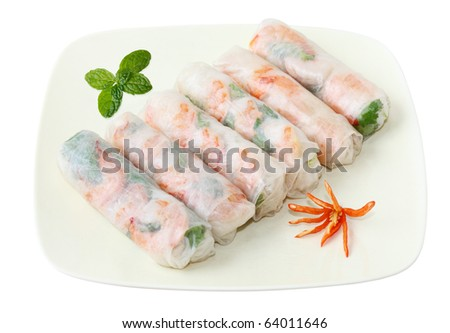 Vietnamse spring rolls with lettuce, mint, shrimp and vermicelli - stock photo