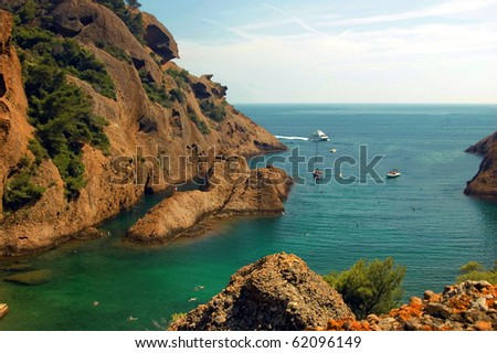 View above onto the bay in the Calanque de Figuerolle in the midsummer - stock photo