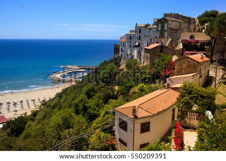 View above the sea from a high point of Sperlonga, Lazio, Italy.