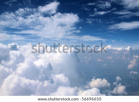 View above the sky from airplane - stock photo