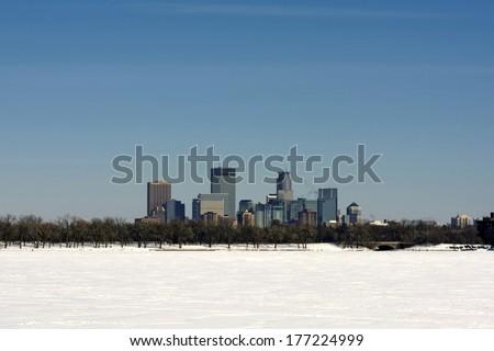 View across frozen lake Calhoun, Minneapolis, Minnesota, USA - stock photo
