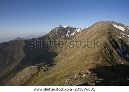 view across mountain tops in snowdonia, north wales - stock photo