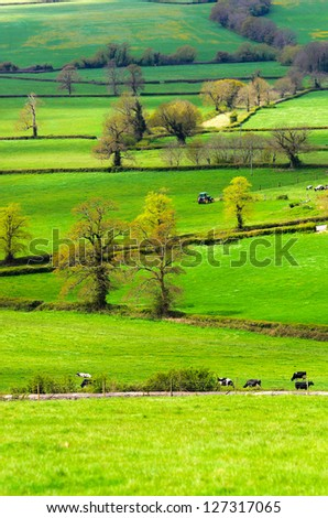 View across open fields near Pucklechurch in South Gloucestershire England. - stock photo