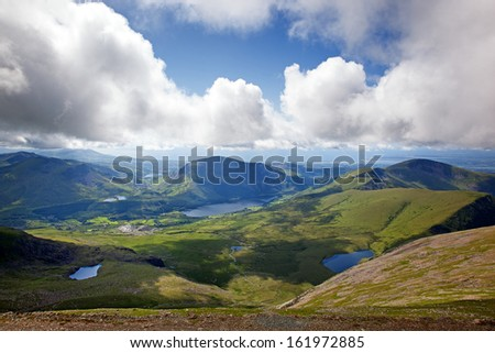 View across Snowdonia from the LLanberis Pass, Snowdonia, Wales - stock photo