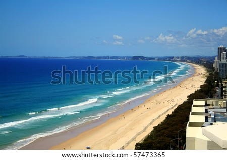 View across Surfers Paradise beach looking South down the Gold Coast in Australia. - stock photo