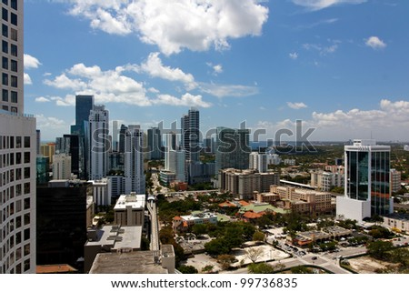 View across the Brickell neighborhood of Miami, FL, from the 35th floor of an apartment tower.