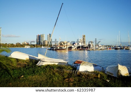 View across the Broadwater at Southport on the Gold Coast Australia in the early morning light. - stock photo