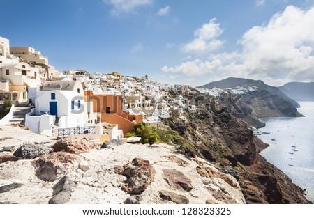 View across the collapsed caldera of Santorini, South Aegean, Greece - stock photo
