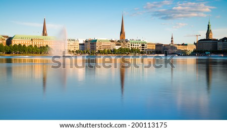 View across the Inner Alster Lake (Binnenalster) in Hamburg, Germany - stock photo