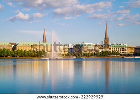 View across the Inner Alster Lake (Binnenalster) in Hamburg, Germany  - stock photo