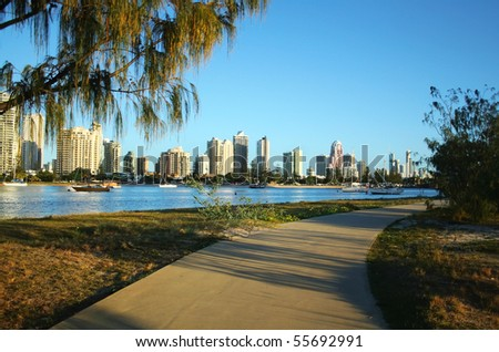 View across the Nerang River to Main Beach and Surfers Paradise on the Gold Coast Australia. - stock photo