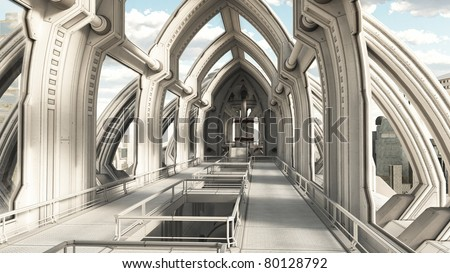 View along a bridge hallway in a futuristic sci-fi city building, 3d digitally rendered illustration - stock photo