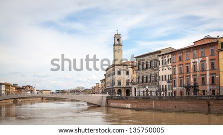 View along the Arno river in Pisa, Italy - stock photo