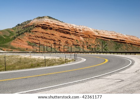 view along the Chief Joseph Scenic Byway in Wyoming - stock photo