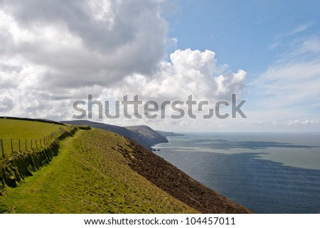 View along the cliff tops of the south west coastal path - stock photo