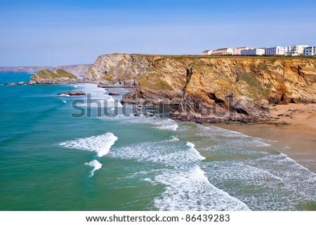 View along the Cornish Coast from Trevelgue Head near Newquay Cornwall England UK - stock photo