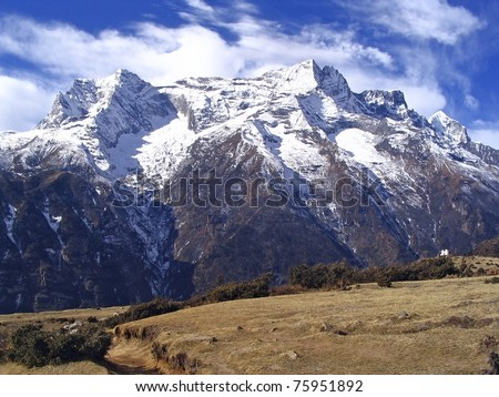 View along the hiking trail to Mt Everest Base Camp, Nepal - stock photo