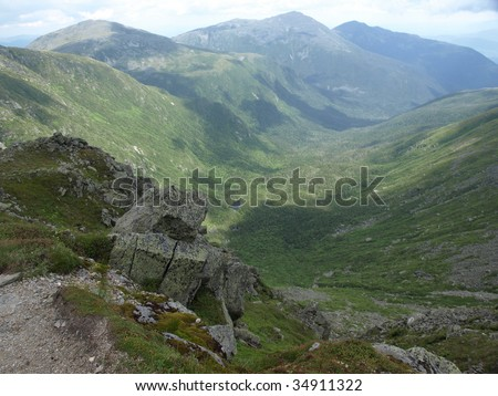 View along the Jewel trail which goes up Mt. Washington in the White Mountains of New Hampshire. The view is during the summer - stock photo