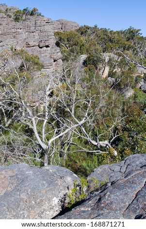 View along the ridges of Grampians National Park, Victoria, Australia. - stock photo