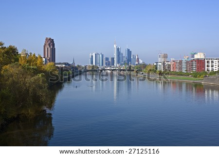 view along the  river main to frankfurt financial district