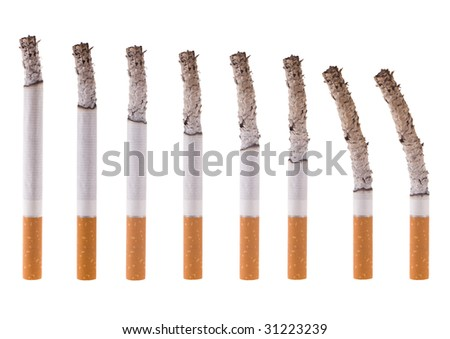 View as cigarette burns all over, on white background