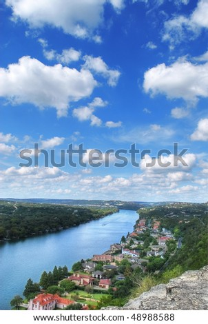 view as seen from mount bonnell, austin, texas, usa - stock photo