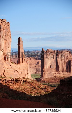View at Arches National Park, UT - stock photo
