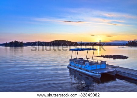 View at Birch Island located at Sudbury Ontario Canada during sunset - stock photo