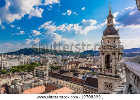 View at Budapest and belfry from the top of St. Stephen Basilica, Hungary - stock photo