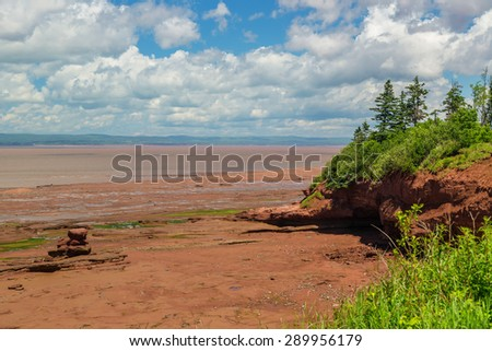 View at Burncoat Head Park on the Bay of Fundy in Nova Scotia.  Where the highest tides in the world are reported. - stock photo