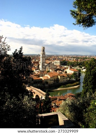 View at cathedral in Verona and the Adige river. - stock photo