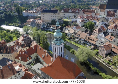 View at Cesky Krumlov in the Czech Republic. This village is an UNESCO World Heritage site