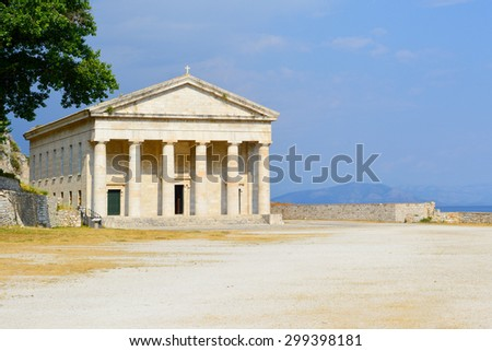 View at church of St. George at the Old Fortress on the Corfu island, Greece. - stock photo