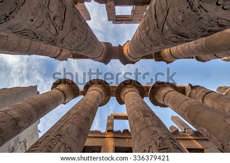 View at columns in Karnak Temple. Luxor, Egypt - stock photo
